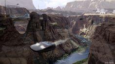 Spaceship flying through canyon