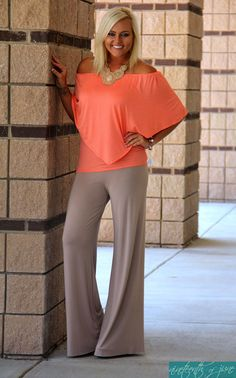 c8276811dd8b9 Convertible Top. Taupe Palazzo Pants. Bib Necklace. Summer Outfit. Gorgeous  Look. NOJ Boutique.