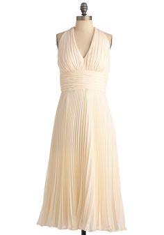 University of Marilyn Dress in Cream - Long, Formal, Prom, Wedding, Vintage Inspired, Cream, Solid, Ruffles, Empire, Halter, Pleats, White, Rockabilly