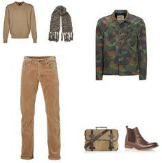 Camouflage Print Outfit outfit - Street style - Deze outfit is super stoer en opvallend door het jack met camouflage print van Scotch&Soda. Door het jack te combineren met een bruine broek en een bruine trui, beide van GANT, komt het jack goed tot zijn recht. De sjaal van Alveare, de schoenen van Bertie en de tas van Cowboysbag maken de outfit af.
