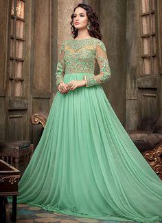Light Sea Green Net Floor Length Anarklali Suit