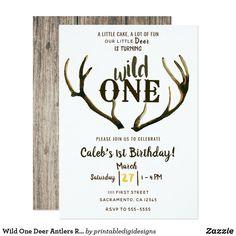 Wild One Deer Antlers Rustic Birthday Party Invitation Wild One Birthday Invitations, Wild One Birthday Party, Baby Boy 1st Birthday, Boy Birthday Parties, Birthday Ideas, Simple 1st Birthday Party Boy, Happy Birthday, Twins 1st Birthdays, Deer Antlers