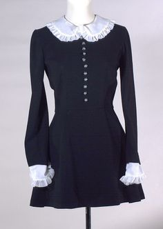 A 1967 black wool crepe mini dress by Pru Acton