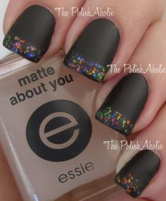 Nail Art diseño negro purpurinas