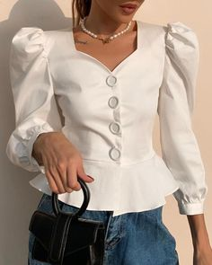 Solid Buttoned Puff Sleeve Ruffles Blouse Source by ivrosegeeko blouses casual Trend Fashion, Fashion Tips, Blouse Outfit, Blouse Designs, Blouses For Women, Casual, Ruffle Blouse, Peplum, Fashion Dresses