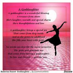 Ballerina Sunset Goddaughter Poem 2 Inch Square Magnet | Zazzle