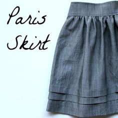 DIY Paris Skirt Tutorial: looks pretty simple! Diy Clothing, Sewing Clothes, Clothing Patterns, Sewing Patterns, Skirt Patterns, Barbie Clothes, Knitting Patterns, Skirt Pattern Free, Shift Dress Pattern