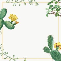 Hand drawn cactus and succulent frame | premium image by rawpixel.com / nap Succulent Frame, Simple Wallpapers, Cactus Flower, Flower Frame, Cacti And Succulents, Antique Art, Hand Drawn, How To Draw Hands, Creative Things