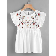 Shop Embroidered Frill Trim Keyhole Back Smock Top online. SheIn offers Embroidered Frill Trim Keyhole Back Smock Top Ruffle Collar Blouse, White Ruffle Blouse, Ruffle Shirt, Ruffle Top, Ruffles, Pretty Outfits, Cute Outfits, Mode Style, Dress To Impress