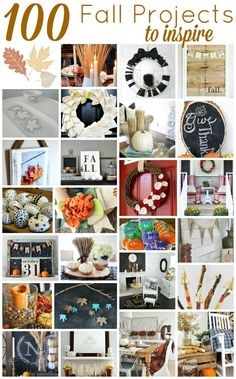 100 Fall Project Ideas: Add a bit of fall to your home decor this season.  There is a project for everyone at every level of DIY here!
