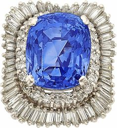 Estate Jewelry:Rings, Sapphire, Diamond, White Gold Ring The ring fe... Image #1