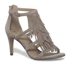 Sandale talon croûte de cuir frange beige