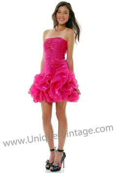 Fuchsia Metallic Chiffon Rose Bubble Strapless Homecoming Dress - XS - 2X
