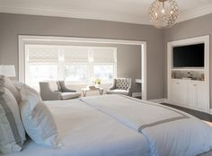 I love these colors in a master bedroom, makes the room feel so soothing and calming. Love it! #neutrals #masterbedroom #mastersuite -- Westminster Master Bedroom/Bathroom transitional bedroom