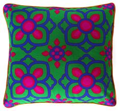 Beautiful blue pink flower #cushioncover buy online with #craftshopsindia