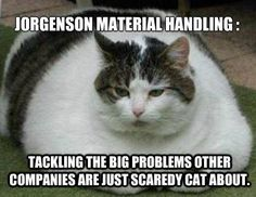 We tackle the big problems other companies are just scaredy cat about. ;) www.JorgensonMaterialHandling.com #materialhandling #memes