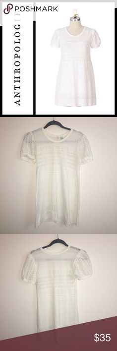 """Anthropologie Ric Rac Smooth Talker Tunic Perfect condition, size small - miss pattern / Lacey tunic from anthropologie.  Nylon / spandex blend  Bust 15"""" across length 28"""" from shoulder down.  Can wear as a tunic or mini dress! Anthropologie Tops Tunics"""