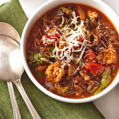 You'll love every spoonful of this Italian Wild Rice Soup. Plus, get more slow cooker soups and stews.