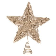String Star Tree Topper - Gold. Find seasonal decorations at Target.com! Crown the top of your tree with this gold star tree topper. The gold strings add elegance and depth, and the coiled base makes it easy to put on the tree and keeps it secure. This topper will add sparkle and beauty to your holiday gatherings, and the durable construction will withstand plenty of use so it can be used year after year.. Price: $10.00