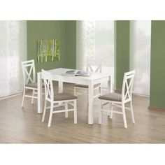 stół KSAWERY - stół Halmar- drewniany stół- biały stół- stół do kuchni Dining Set, Dining Chairs, Outdoor Furniture Sets, Outdoor Decor, Home And Living, House Design, Interior, Table, Home Decor