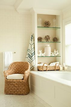 Beachy bathroom. I need to get something like this built in that weird area by tub