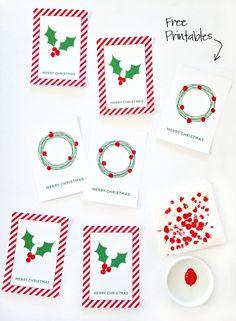Free Printable Fingerprint Holly Cards - I Heart Nap Time