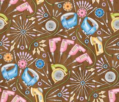 Flower Power Tools fabric by mia_valdez on Spoonflower - custom fabric