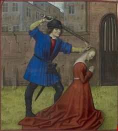 """end of the 15th century (ca. 1490-1500) Netherlands - Bruges - London, British Library - Harley 4425: Roman de la Rose by Guillaume de Lorris and Jean de Meun, fol. 54v - Virginius about to decapitate his daughter Virginia, """"to preserve her honour"""""""