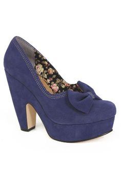 love the floral lining, but also the vivid purple, the bow, and the platform shape.