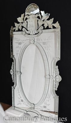 Venetian Pier Mirror Mantle Mirror, Vanity Wall Mirror, Venetian Glass, Venetian Mirrors, Wall Mirrors Rectangular, Etched Mirror, Glass Etching, Cut Glass, French Antiques