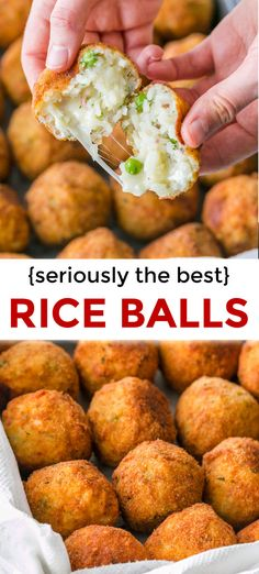 Cheesy Rice Balls a k a Arancini are classic Italian deep fried rice balls stuffed with cheese ham and sweet peas Ridiculously good riceballs arancini ricerecipes deepfried arancinirecipe natashaskitchn Arroz Frito, Cheesy Rice, Menu Dieta, Rice Dishes, Appetizer Recipes, Italian Appetizers, Yummy Appetizers, Recipes Dinner, Food Design