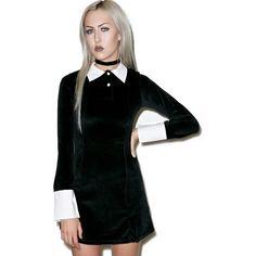 Killstar Addams Velvet Dress featuring polyvore, women's fashion, clothing, dresses, babydoll dress, baby doll dress, fitted dresses, velvet dress and velvet babydoll dress