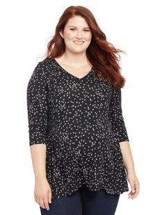 Plus Size Smocked Waist Maternity T Shirt, Black/White Print