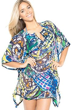La Leela Multicolor Printed Sheer Beach Swim KaftanLarge >>> ** AMAZON BEST BUY **