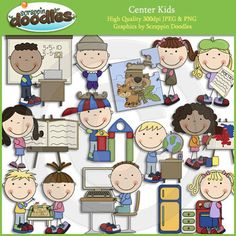 "Our Center Kids collection includes all the images shown in the sample picture (12 images)Graphics come in JPEG and PNG format 300 dpi format.My graphics are suitable for printing and digital projects and can be easily re-sized smaller to suit other needs, graphics measure up to approx 7"".Original Artwork by Scrappin DoodlesScrappin DoodlesKey Words: school, stick kids, stick figures, stick people, centers, sand table, social studies, reading, books, art, overhead projector, building…"