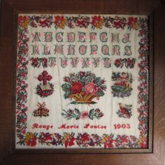 A Beautiful 20th Century FRENCH Sampler Stitched By Marie Louise Rougé & Dated 1903 (Coll Couleur Tourterelle)