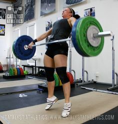 How the barbell and hips connect in the pull or extension of the snatch and clean in olympic weightlifting