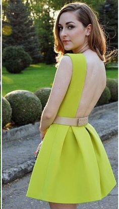 Vestido sin espalda sin manga-verde 14.44