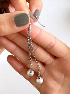 Pearl Drop Chain Earrings: DIY jewelry making tutorial   She's Got the Notion