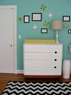 Custom Nursery Art by Kimberly: Real Life Room: Aqua, Grey & Mustard Vintage Modern