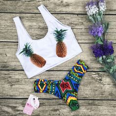 8DESS Fashion Pineapple Print Thongs Bikini Swimwear Swimsuit