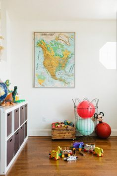 Global Goods: California-based wedding photographer Raya Carlisle created a vintage-mod playroom with just a few vintage and flea market finds.   See more on how she brought big style to a super small space here.  Source: Raya Carlisle