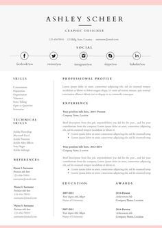 Resume Template And Cover Letter Template Professional Design Cv