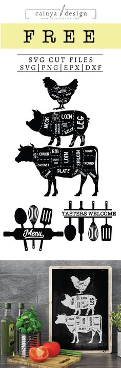Free Animal Kitchen SVG, PNG, EPS & DXF by Caluya Design. Compatible with Cameo Silhouette, Cricut and other major cutting machines!Perfect for your DIY projects, Giveaway and personalized gift. Diy Craft Projects, Vinyl Projects, Cricut Vinyl, Vinyl Decals, Wall Stickers, Wall Decals, Wall Art, Cricut Explore, Planner Stickers