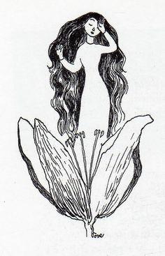 Tulppaani Illustration by Tove Jansson Art And Illustration, Moomin Books, Tove Jansson, Nature Drawing, Conte, Totoro, Artist Art, The Book, Art Inspo
