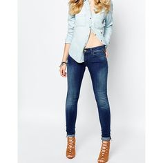 Replay Luz Mid Rise Skinny Jean ($125) ❤ liked on Polyvore featuring jeans, blue, tall skinny jeans, skinny fit jeans, ripped jeans, white jeans and distressed skinny jeans