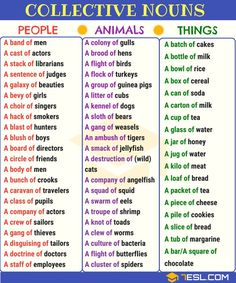 Collective Nouns: Useful List & Examples in English Common Collective Nouns Teaching English Grammar, English Grammar Worksheets, English Writing Skills, English Vocabulary Words, English Language Learning, English Phrases, Learn English Words, English Study, German Language