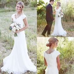 2015 Simple A Line V Neck Lace Chiffon Short Sleeve Wedding Dresses Sweep Train Cheap Bridal Gowns Custom Made Online with $120.52/Piece on Wheretoget's Store | DHgate.com