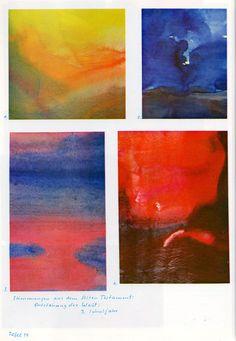 Tafel 19: Stimmungen des Alten Testaments über die Weltentstehung (3. Schuljahr) oben links: 1. Farbflächen in Gelb, Orange und Grün oben rechts: 2. dunkler Weg in dunkelgrüner, flacher Landschaft mit dunkelblauem Himmel mit weissen Lichtfenstern unten links: 3. Meerenge in Rot-Blau mit Himmel in Rot-Blau unten rechts: 4. undefinierbare Farbschichten in Rot und Braun