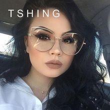TSHING Ojo de Gato Moda Gafas Ópticas Mujeres Hombres Lente Transparente Grande de Metal Gafas de Marco Retro Mujer Hombre Gafas Anteojos(China (Mainland))